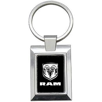Porte-cl/és Acier//Simili Cuir Logo Dodge RAM Fond Gris