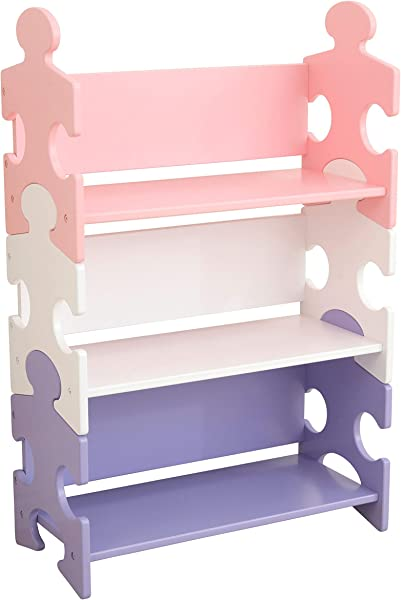 KidKraft Wooden Puzzle Piece Bookcase With Three Shelves Pastel