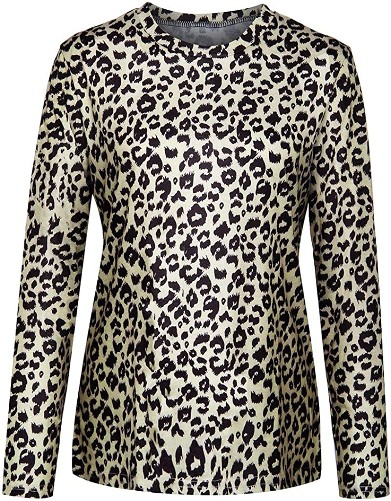 aihihe Leopard Print Tops for Women Pullover Casual Crew Neck Long Sleeve Ladies Tops Sweatshirts Blouse