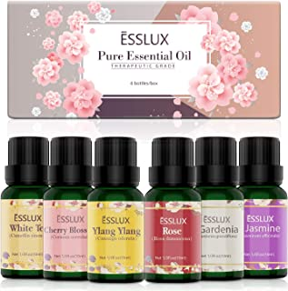 Floral Essential Oils, ESSLUX Pure Aromatherapy Diffuser Oils, Rose, Ylang Ylang, Jasmine, Gardenia, Cherry Blossom, White Tea Essential Oils for Diffuser, Massage & Candles Making, 6x10 ML