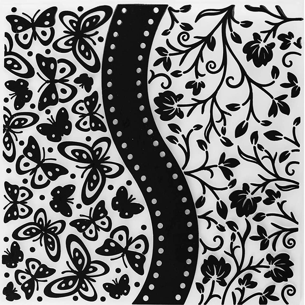 MaGuo Butterflies Flowers Plastic Embossing Folder Template for Card Making Scrapbooking DIY Crafts