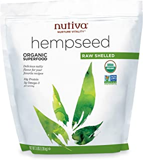 Nutiva Organic Raw Shelled Hempseed from non-GMO, Sustainably Framed Canadian Hemp, 3 Pound