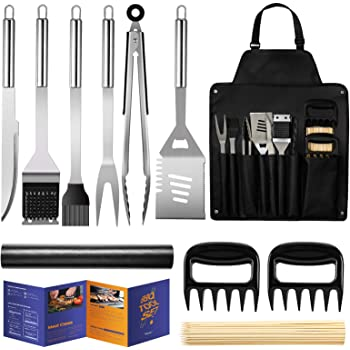 Veken BBQ Grill Accessories, Stainless Steel BBQ Tools Set for Men & Women Grilling Utensils Accessories with Storage Apron Gift Kit for Barbecue Indoor Outdoor
