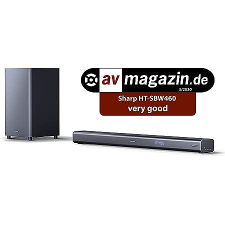 SHARP HT-SBW460, 3.1 Dolby Atmos, Barra de Sonido, Sonido Envolvente Virtual 3D y subwoofer inalámbrico, Bluetooth, Experiencia 4K, HDMI ARC/CEC, Potencia máxima Total de Salida: 440w, Color Negro