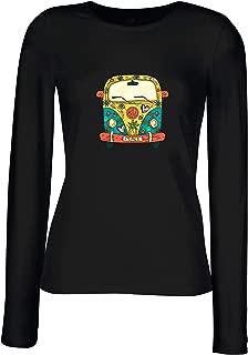 lepni.me Women's T-Shirt 60s 70s Hippie Van, Flowers Love Peace Freedom Symbol