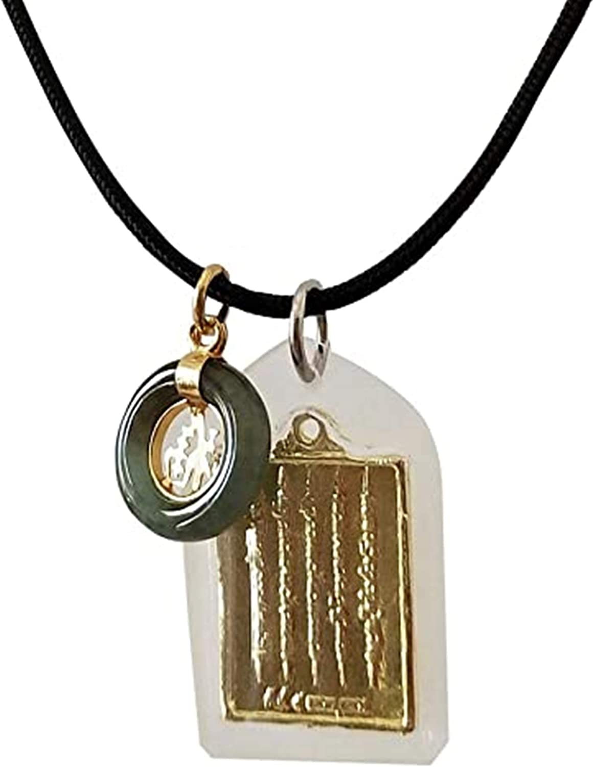 Thai Amulet Buddha Pendants Magic Holy for Men Women Charms Arjan Nu Kanpai Yantra 5 Rows with Coin Stone Luckly Necklaces Handmade Protect Rich Charm Trade Health Wealth Money for Success Big Good Fortune Bring Attract Money