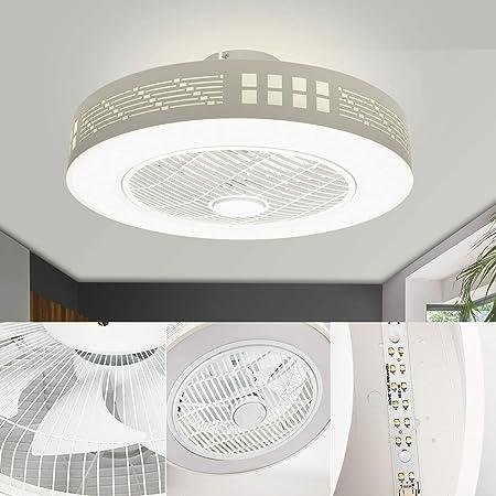 LEDMO LED Fan Plafonnier Moderne Nordique Dimmable Ventilateur Au Plafond avec Lampe Ultra-Mince Invisible 45W Lustre De Ventilateur Ultra Silencieux Chambre Salon Fan Lumière Éclairage(Ø55CM)