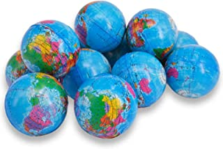 Wang-Data Squeezable World Stress Balls for Kids Mini World Globe Earth Ball 24 Pack - Balls Relief Pressure Balls Globe Pattern Balls for Kids، School، Classroom، Party Favors (2.5 اینچ)