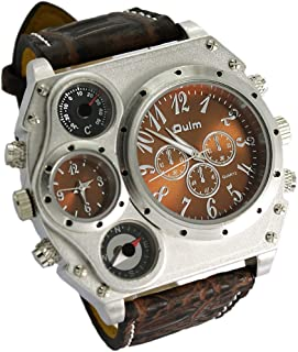 Oulm Analog Dark Brown Leather Strap Four Sub-dials Men Watch