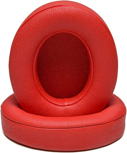 SYGA Cushions Replacement Ear Pads for Beats Studio 2 & 3 (B0501, B0500) Wired & Wireless | Softer Leather, Luxurious Memory Foam | Enhanced Noise Isolation & Stronger Adhesive | Red