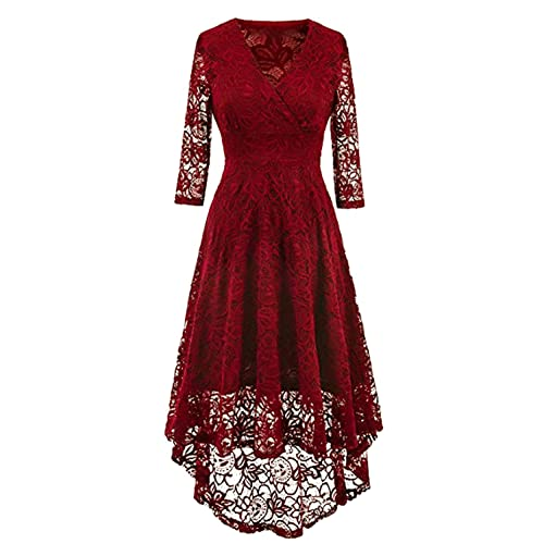 efe826b878af NALATI Women Vintage Beautiful 50 s Retro Floral lace Fabric Swing Dress  with 3 4 Long