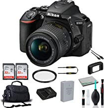 Nikon D5600 DX-Format DSLR Camera with 18-55mm Lens 1576 Bundle with 2X 32GB Memory Cards + Carrying Case + More