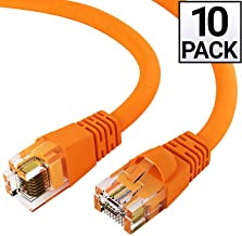GOWOS Cat6 Ethernet Cable (10-Pack - 0.5 FT) Orange - 24AWG Network Cable with Gold Plated RJ45 Snagless/Molded/Booted Connector - 10 Gigabit/Sec High Speed LAN Internet/Patch Cable - 550MHz