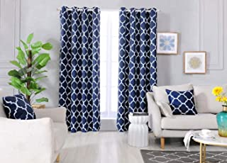Dikarts Blackout Curtains Navy with Throw Pillow Covers 4 Pieces Set Thermal Insulated Room Darkening Window Curtain Panels with Grommets(52 W x 84 L, Navy)