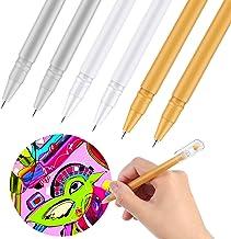 Bolígrafo de Gel Blanco de 0,6 mm para Artistas Papel Oscuro Ilustración de Dibujo Diseño de Arte, Resaltador de Punta Fina de Tinta Dorada, Plateada, Blanca (2 Blancos 2 Plateados 2 Dorados, 6)