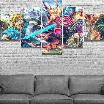 LAKHAFZY 5 Peintures sur Toile Legend of Zelda Poster Peintures D/écoratives Modernes sur Toile Art Mural pour La D/écoration De La Maison Wall Decor