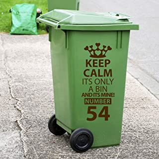 Cukudy Recycling Wheelie Bin Custom Decals Dustbin Vinyl Stickers New House Number Wall Decorations Removable Wall Decals Colorful Stickers Brown