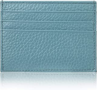 YEHMAN Leather Card Holder 7 Compartments Minimalist for Women Men Children, turquoise (Turquoise) - W-51322