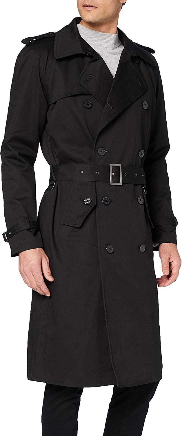 Mens Black Traditional Double Breasted Long Trench Coat Cotton Military Rain Mac