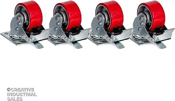 月个月转椅脚轮聚胺脂轮 W 总锁刹车 700lb Ea 月工具箱