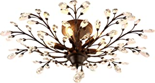 SEOL-LIGHT Vintage Large Crystal Branches Chandeliers Black Ceiling Light Flush Mounted Fixture with 5 Light 200W Large Size