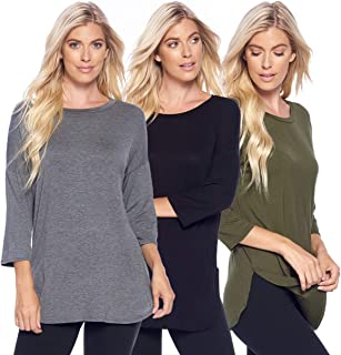 Isaac Liev Women's 3-Pack 3/4 Sleeve Curved Hem Tunics with Side Slits
