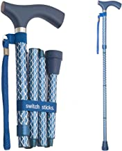 Switch Sticks Aluminum Adjustable Folding Cane and Walking Stick collapses and adjusts from 32 to 37 inches, Engraved Azure