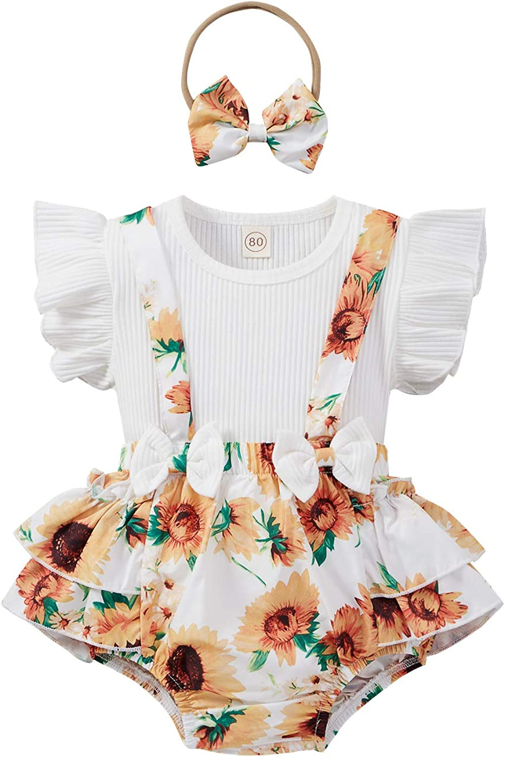 Summer Newborn Infant Floral Suspender Ribbed Tucson Mall Outfit Pants 100% quality warranty Tops