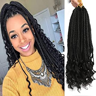 6Pcs/Pack Crochet Hair Black Box Braids Hair Ends Ombre Brown Kanekalon Loose Wave Synthetic 18 Inch Box Hair For Braid 22 Strands/pcs Braiding Hair Extensions (Black(1B))