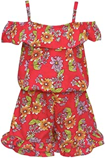 d7c66df57b06 Little Girls Red Allover Floral Print Off-Shoulder Strappy Ruffle Romper  4-6X