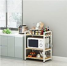 Piso de estantería Multi-Capa Horno Microondas Estante de Horno de microondas Cocina de arroz Sazonador Rack Three Pase Blanco White2