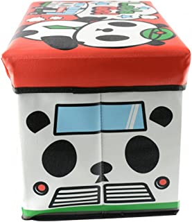 Home Line Puff/Baúl Infantil Plegable para Almacenamiento de Juguetes, Diseño Oso Panda. 48x31x31cm.-Hogarymas-