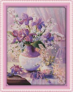 DIY Handmade Needlework Counted Cross Stitch Set Embroidery Kit 14CT Purple Vase Pattern Cross-Stitching 38 x 47cm Home De...