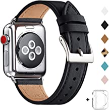 Bestig Band Compatible for Apple Watch 38mm 40mm 42mm 44mm, Genuine Leather Replacement Strap for iWatch Series 5/4/3/2/1, Sports & Edition (Black Band+Silver Adapter, 38mm 40mm)
