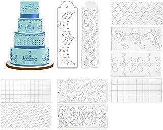 Gresunny 10pcs Tapis dimpression Fondant Tapis dimpression de Texture de gâteau de Conception Florale Pochoir à gâteau en ...