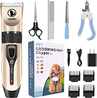 Ceenwes Cordless Pet Grooming Clippers Professional Pet Hair Clippers Detachable Blade with 4 Comb Guides for Small Medium...