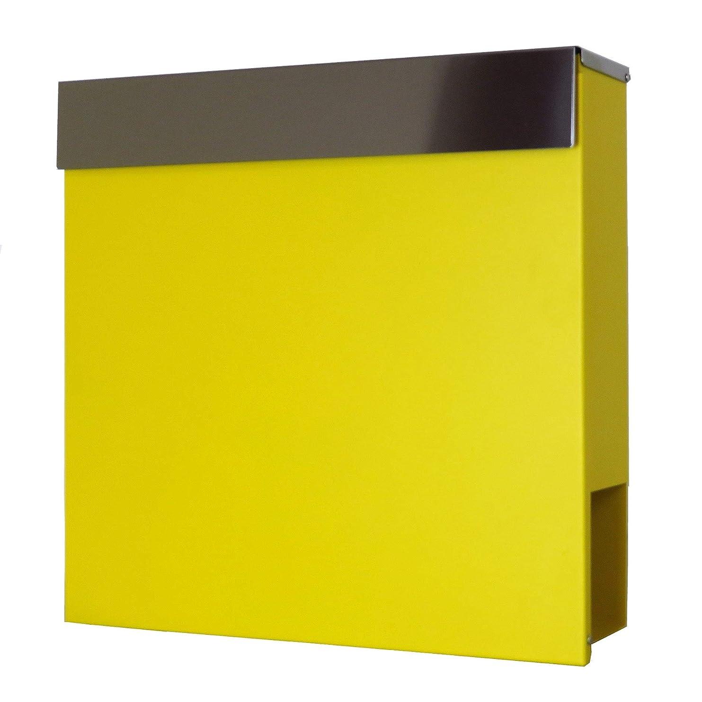不良厚さおんどりおしゃれな郵便ポスト郵便受けmailbox大型 鍵付きマグネット付きイエロー 黄色ポストpm334