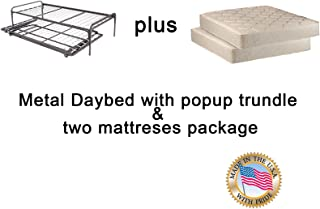 Twin Size Metal Day Bed (Daybed) Frame & Pop up Trundle with Mattresses Included Package Deal!