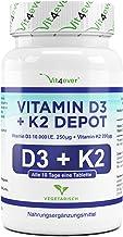 Vit4ever® Vitamin D3 10.000 I.E + Vitamin K2 200 mcg Menaquinon MK7 Depot - 180 Tabletten - 99% All-Trans - Laborgeprüft - Alle 10 Tage eine Tablette - Vegetarisch - Hohe Bioverfügbarkeit