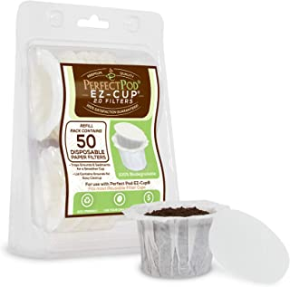 Perfect Pod EZ-Cup Disposable Paper Filters with Patented Lid Design for Reusable Coffee Pods 4-Pack (200 Filters)
