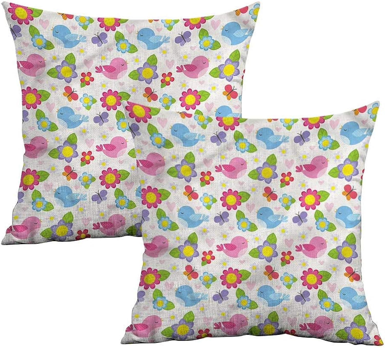 Khaki home Kids Wall Square Slip Pillowcase Cartoon Birds Flowers Square Kids Pillowcase Cushion Cases Pillowcases for Sofa Bedroom Car W 20  x L 20  2 pcs