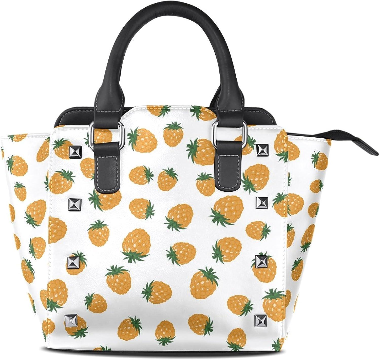 My Little Nest Women's Top Handle Satchel Handbag Raspberries Floral Pattern Ladies PU Leather Shoulder Bag Crossbody Bag