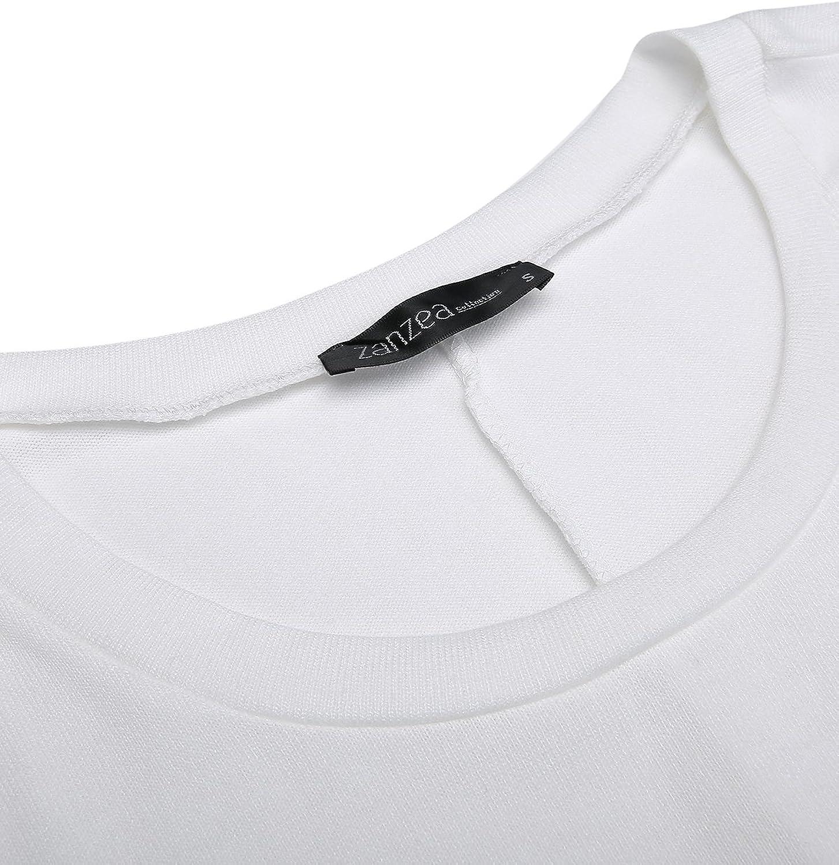 ZANZEA Damen Lose Asymmetrisch Jumper Sweatshirt Pullover Bluse Oberteile Oversize Tops Weiß