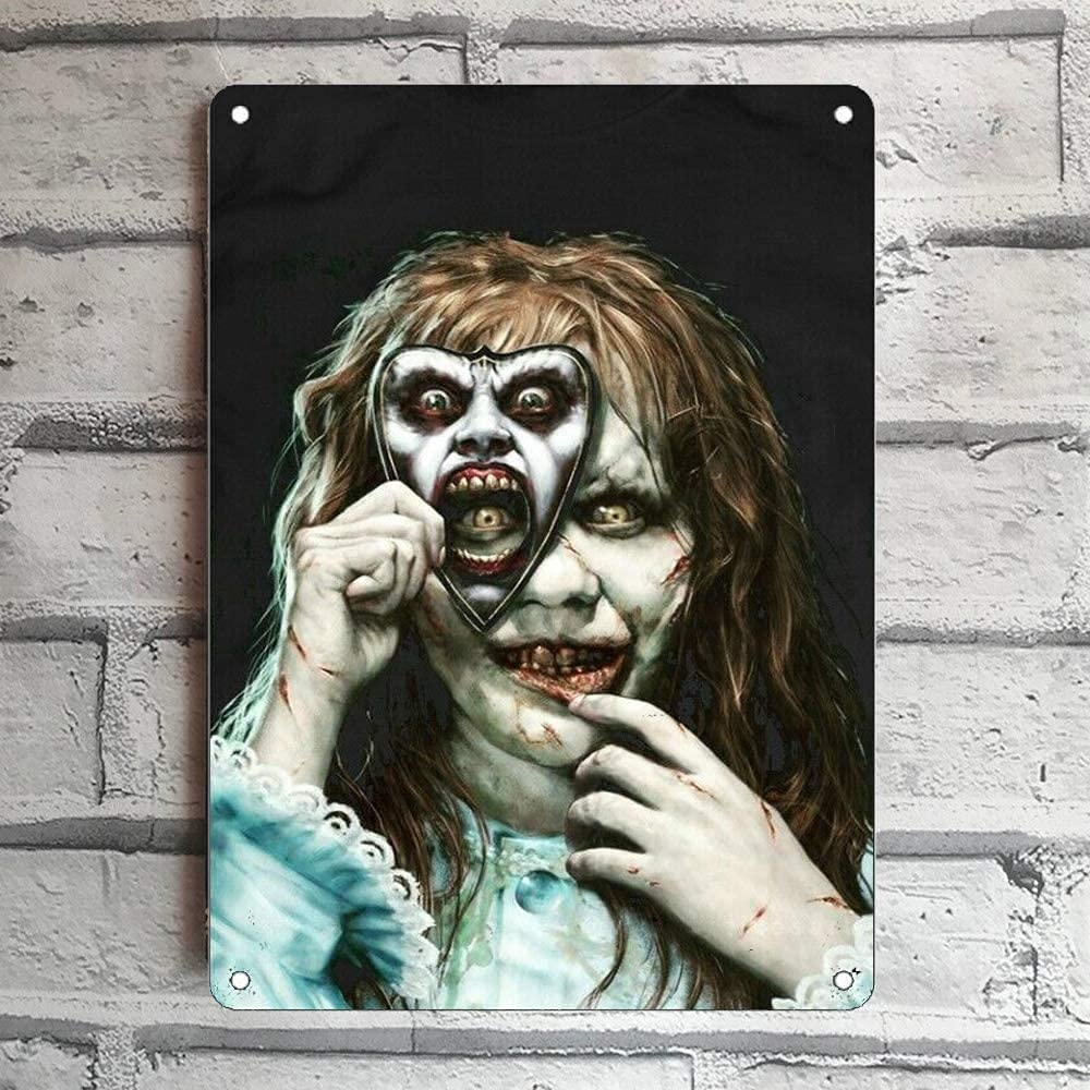 LINQWkk Creative Tin Sign Classic Horror Movie Funny Novelty Metal Sign Retro Wall Decor for Home Gate Garden Bars Restaurants Cafes Office Store Pubs Club Sign Gift 12 X 8 INCH Plaque Tin Sign