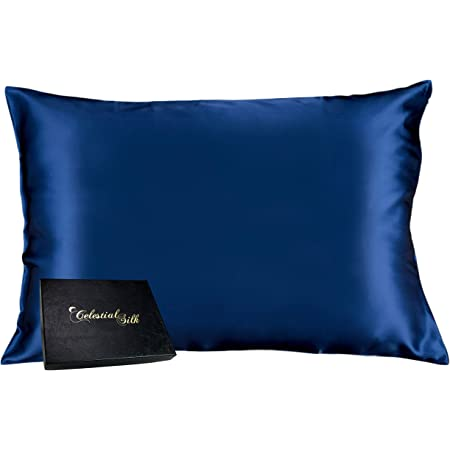 Celestial Silk 100% Silk Pillowcase for Hair Zippered Luxury 25 Momme Mulberry Silk Charmeuse Silk on Both Sides of Cover -Gift Wrapped- (Queen, Navy Blue)