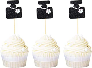 Newqueen Glitter Perfume Bottle Cupcake Toppers Black Bachelorette Cupcake Picks Baby Shower Birthday Party Cake Decoration Supplies 20 PCS