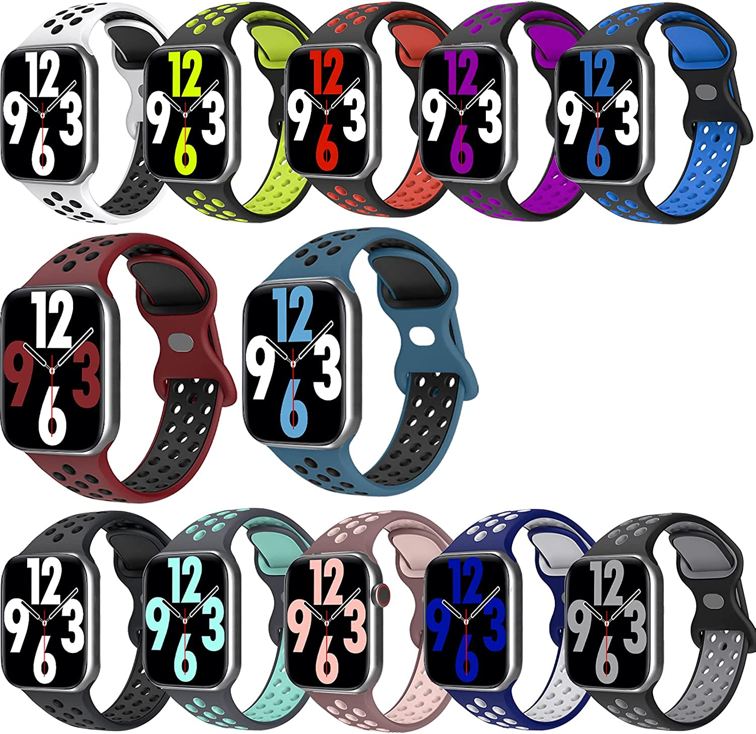 12 Pack Sport Bands Compatible with App le Watch Bands 38mm 40mm 41mm 42mm 44mm 45mm, Breathable Soft Silicone Sport Band Repacement Strap for Watch Series 7/6/5/4/3/2/1/SE, Men Women