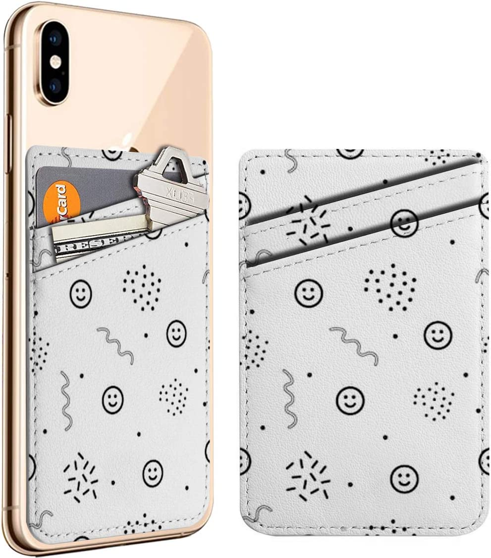 (Smiley Face) Cell Phone Stick On ID Credit Card Leather Holder Wallet Pocket Pouch Sleeve, Compatible with iPhone, Samsung Galaxy Android Smartphones