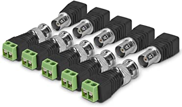 kwmobile 10 Pieces BNC Connector Adapter Set - 5X Male 5X Female with Solderless Screw Terminal Coax Cat5 Cat6 to Video Balun CCTV Surveillance Camera
