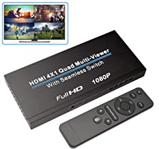 HDMI Multi-Switcher 4X1, NIERBO HDMI Quad Multi-Viewer 4 in 1 Out HDMI Switcher 1080P HDMI Seamless IR Control 3D Support ...